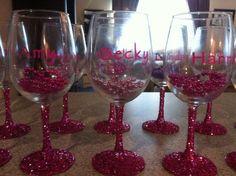 Personalized Wine Glass...Cute Bachelorette idea
