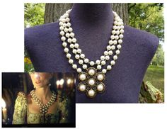 "Created by Sapphire & Sage Renaissance Jewelry and Accessories, www.sapphireandsage.com Replication Katherine Parr Necklace from Showtime's ""The Tudors"" Series, in antiqued gold and 10mm cream glass pearls"