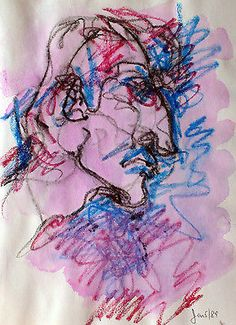 Artist-Canada-early-work-drawing-HUMAN-GESTURES-12-8x11-inches-mixed-media