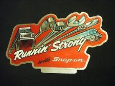 Packaging Ideas: VINTAGE SNAP ON TOOLS Sticker Decal Runnun Strong Truck Box Open End Wrench 80s
