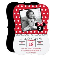 Minnie Mouse   Red & White Dots Photo Birthday Card Polka Dot Birthday, 3rd Birthday, Birthday Cards, Birthday Parties, Photo Birthday Invitations, Custom Invitations, Minnie Bow, Minnie Mouse, Red Party