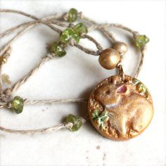 Rabbit Necklace with Peridot - Bunny Charm Pendant Necklace - Handcrafted Clay on Beaded Hemp Cord - in spring green and gold