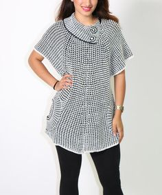 Another great find on #zulily! White & Black Cape-Sleeve Tunic - Women by Diva Designs #zulilyfinds