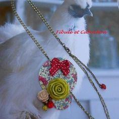 Headband à pampilles  - bijou de cheveux ou collier court - hippie chic - liberty et fleurs - vert,rouge,écru