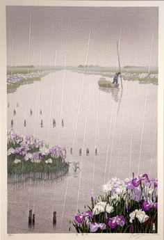 They kindly tend the irises that grow in the river (Iris Rain by Shufu Miyamoto)