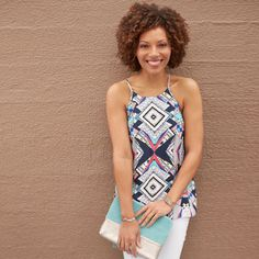 **** Fun tribal tank. White jeans. Bold color handbag.  Stitch Fix Fall, Stitch Fix Spring Stitch Fix Summer 2016 2017. Stitch Fix Fall Spring fashion. #StitchFix #Affiliate #StitchFixInfluencer