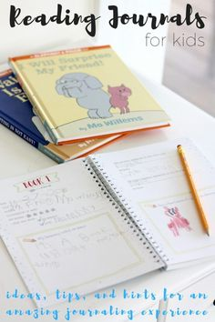 Reading journals and starting reading journals for kids and their adsts. Our favorite tips and hints for creating an amazing journaling experience for kids and encourage a love of reading through a reading journal Reading Logs, Kids Reading, Reading Activities, Activities For Kids, Reading Lessons, Preschool Literacy, Literacy Activities, Preschool Journals, Literacy Stations