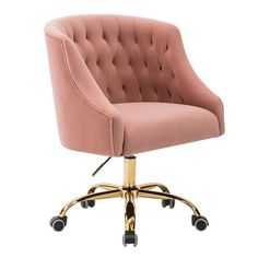 Beachcrest Home Cyra L Shaped Desk & Reviews | Wayfair Tufted Desk Chair, Upholstered Chairs, Swivel Chair, Pink Desk Chair, Modern Desk Chair, Teen Desk Chair, Home By, Corner Office, Executive Chair