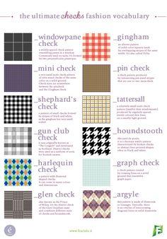 Know your checks! Che siano gingham,minio glen, le stampe a quadri sono il mega trend per quest'autunno.Scoprite le principali tipologie con il nostro fashion vocabulary mensile ecercate la vos… #InfographicsFashion