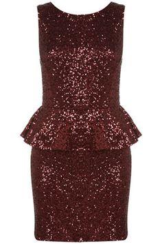 Sequin Peplum Dress