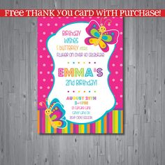 butterfly Birthday Invitation, first birthday party invitation, butterfly, party invitation printable, FREE thank you card, INSPIRED on Etsy, $15.00