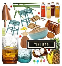 """TIKI BAR"" by cutandpaste ❤ liked on Polyvore featuring interior, interiors, interior design, home, home decor, interior decorating, Totally Bamboo, Frontgate, M&Co and Core Home"