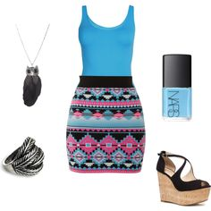 A fashion look from May 2012 featuring wedge shoes, feather rings and owl necklaces. Browse and shop related looks. Casual Clothes, Casual Outfits, Cute Outfits, Aztec Prints, Confessions Of A Shopaholic, Feather Ring, Fashion Looks, Women's Fashion, Got The Look