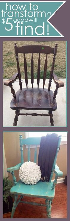 transform an ugly brown $5 goodwill chair into a weathered aqua focal point! from @CampClem blog