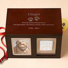 Pet Memorial Photo Keepsake Box | Personal Creations. I really like this idea of the keepsake box for her toys and collar, but we don't have her paw print.