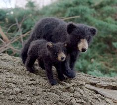 Black Bear Mom and Cub, Needle felt by ClaudiaMarieFelt on Etsy https://www.etsy.com/ca/listing/262574408/black-bear-mom-and-cub-needle-felt