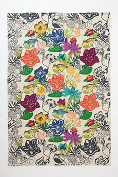 Bouvardia Crewelwork Rug #anthropologie  #flowerpower