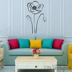Poppy flowers wall decal. Get lost in the beauty and simplicity of this design. Let yourself fall in love with this simple but elegant set of poppies! +++++The photo listed above shows this decal in its largest measurements. Please note that the size of the decal in the picture has been enlarged to show detail. Please review the sizes offered to fit your space.+++++  Vinyl decals can be applied to any clean, smooth and flat surface. You can put them on your walls, doors, windows or anywhere…