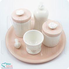 Kit Higiene Cerâmica para decoração de quarto de bebê e infantil KH0003, flor, rosa, passarinho, azul   SP, BH, MG, RJ, DF