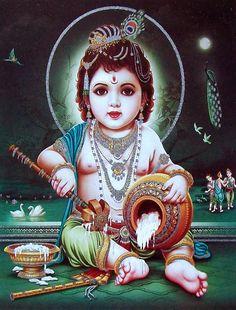 Lord Krishna/Shree Krishna/Baby Krishna/Bal Krishna Poster (Size: 9 X 11 Inches) Bal Krishna, Jai Shree Krishna, Radha Krishna Images, Krishna Art, Radhe Krishna, Lord Krishna, Little Krishna, Cute Krishna, Tanjore Painting