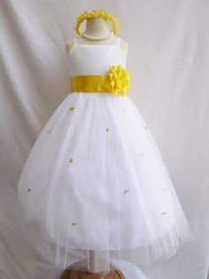 Flower Girl Dress - WHITE Tulle Dress with YELLOW Sash and Rosebuds - Communion, Easter, Jr. Bridesmaid, Wedding - Baby to Teen (FGRP3W)