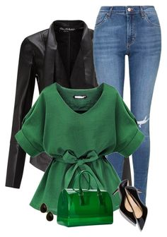 """green"" by divacrafts ❤ liked on Polyvore featuring Miss Selfridge, Topshop, Furla, Natasha Accessories, women's clothing, women, female, woman, misses and juniors"