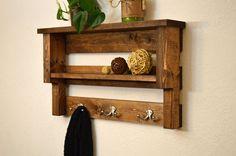 Coat Rack Entry Shelf 3 Nickel Double Hooks Bathroom Towel Rack 2 Tier Light Walnut Rustic Wood