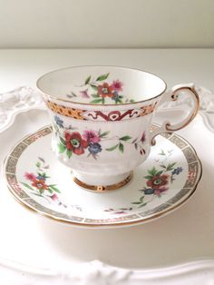 Vintage Tea Cup and Saucer, English Elizabethan Bone China Cottage Style Garden Tea Party Thank You or Housewarming Gift Inspiration
