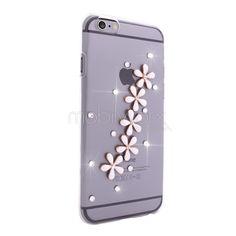 iPhone 6 Papatya Süslemeli Taşlı Şeffaf Kılıf