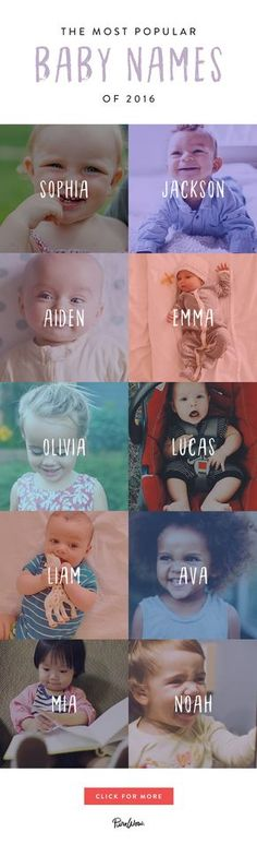 Are The Most Popular Baby Names of 2016 We've rounded up the best baby names of get more inspiration here.We've rounded up the best baby names of get more inspiration here. Popular Baby Names, Cool Baby Names, Cute Names, Girl Names, Unique Names, Baby Boys, Gender Neutral Names, Unisex Baby Names, Baby Name List