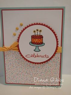 """Stamp Set: Endless Birthday Wishes Paper: Confetti Celebration DSP, Soft Sky, Whisper White, Real Red Ink: Jetlback Stazon, Pool Party, Soft Sky, Pumpkin Pie, Daffodil Delight, Real Red markers Misc: 2 1/2"""" circle punch, Starburst Framelits, Hello Honey Stitched Satin Ribbon, Brights Candy Dots, White gel pen"""