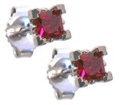 Ruby earrings 2-3mm in 14k white gold // Hannoush Jewelers (www.Hannoush.com)