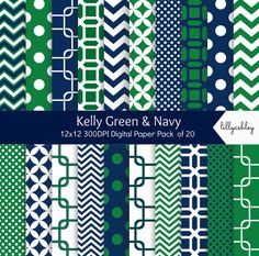 Kelly Green & Navy Digital Paper Pack of 20instant by LillyAshley, $4.49