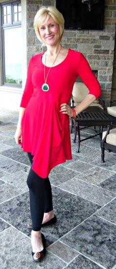 Deborah Boland leggings over 40 Great look long over leggings and love asymetrical hem line on tunic