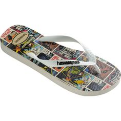 Havaianas Star Wars ($26) ❤ liked on Polyvore featuring shoes, sandals, flip flops, white, women, havaianas flip flops, rubber flip flops, patterned shoes, white flip flops and havaianas sandals