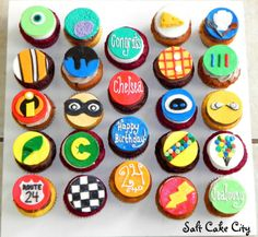 Salt Cake City Disney Pixar themed cupcakes (Monsters Inc, Finding Nemo, The… Summer Cupcakes, Cute Cupcakes, Themed Cupcakes, Wedding Cupcakes, Birthday Cupcakes, Pixar Cars Birthday, Cars Birthday Parties, Birthday Fun, Toy Story Cupcakes