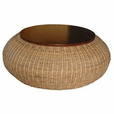 Bianca Round Coffee Table by Jeffan. $549.90. R3-03 Features: -Round cocktail table.-Handwoven with twisted abaca. Color/Finish: -Solid mahogany accents.