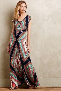 Love maxi dresses. I like the black version of this. Like that I can wear a bra with this.  #anthropologie