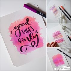 Tombow pens are not only used to write. We're going to show you here three tricks to get your lettering projects more attractive. Watercolor Calligraphy Quotes, Watercolor Quote, Calligraphy Art, Watercolor Cards, Kids Watercolor, Hand Lettering Quotes, Creative Lettering, Bullet Journal Art, Bullet Journal Ideas Pages