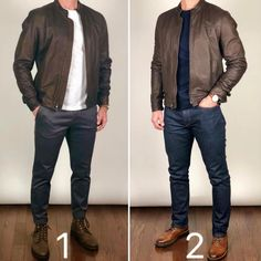 Boots and Leather Jacket 🥾🥾🔥🔥 Which outfit would you wear today❓ Boots left: Tobacco President Boots right: Brandy Captain Jacket: no longer in stock Image may contain: one or more people, people standing and shoes How to beat the Monday blu Mode Man, Formal Men Outfit, Herren Style, Stylish Mens Outfits, Herren Outfit, Fashion Mode, Men Fashion, Mens Boots Fashion, Fashion Trends