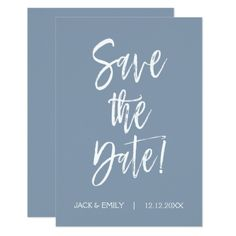Dusty Blue Save the Date Card - invitations custom unique diy personalize occasions
