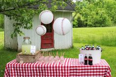 "Baseball lanterns, ""line drive lemonade,"" paper straws. Smarty Parties: ""Who's on First?"" Callum's Baseball First Birthday"