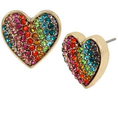 Betsey Johnson Rainbow Connection Heart Stud Earrings ($32) ❤ liked on Polyvore featuring jewelry, earrings, multi, pave heart earrings, heart shaped stud earrings, antique gold jewellery, rainbow jewelry and heart jewelry