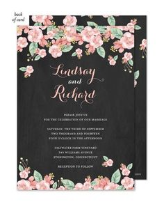 Custom Designs - Chalkboard Floral Wedding Invitatin [CHFIW] - This beauitful invitation features a chalkboard background with floral border. The back of the invitation also features the same design. Blank envelopes included. A portion of the proceeds from the sale of this product is donated to breast cancer research and education. Dimensions: 5 x 7 Manufacturer: Bonnie Marcus Collection Model: CHFIW