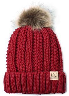 f89d6f4023d11 Funky Junque s Kid Toddler Thick Knit CC Fuzzy Lined Faux Fur Pom Beanie  Hat Cap - Red
