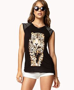 Forever 21 Leopard Graphic Studded Top