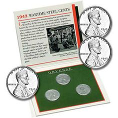 1 SETS-1943-p-d-s-lincoln steel pennys set-WORLD WAR-II #3 REPROSSED-