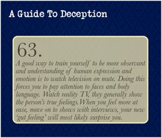 A Guide To Deception — In this case, I recommend watching shows with all...