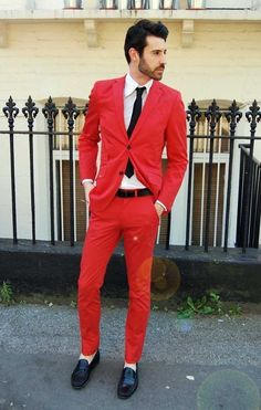 red suit, but i would like it better with just the jacket, and black pants