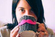 DIY: Funda de crochet para taza moustache | De mi casa al mundo
